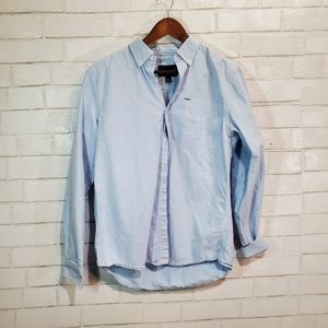 Hurley light blue full-button down top